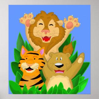 Tigre del león y poster del oso