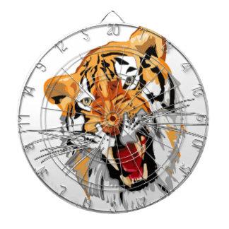 Tigre del rugido con los dientes agudos del gruñid tablero de dardos