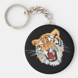 Tigre del rugido llavero redondo tipo pin