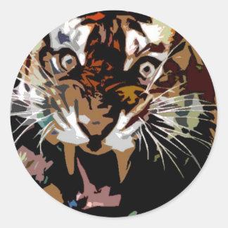 Tigre del rugido etiquetas redondas