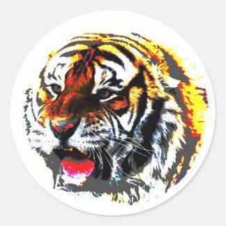 Tigre del rugido pegatina redonda