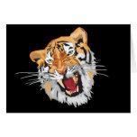 Tigre del rugido tarjeta de felicitación