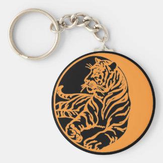 Tigre del tigre llavero redondo tipo pin