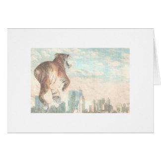 Tigre del tigre que quema brillante tarjeta de felicitación