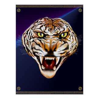 Tigre del tigre que quema el poster brillante póster