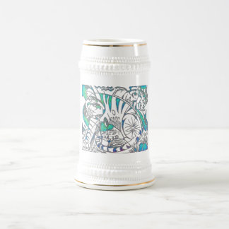 Tigre del trullo en estilo cubista jarra de cerveza