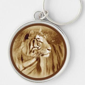 Tigre del vintage llaveros personalizados