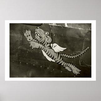 Tigre del vuelo póster