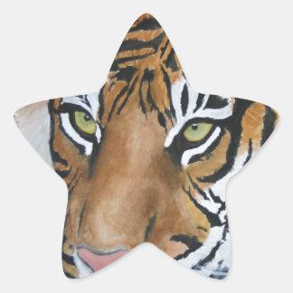 Tigre del Watercolour Pegatina En Forma De Estrella