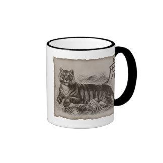 Tigre del zodiaco taza de dos colores