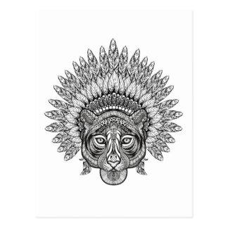 Tigre dibujado mano en estilo tarjeta postal