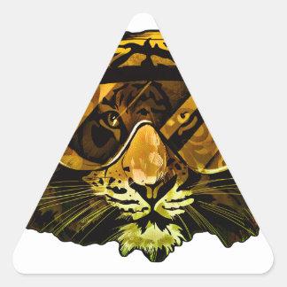 Tigre divertido con los vidrios pegatina triangular