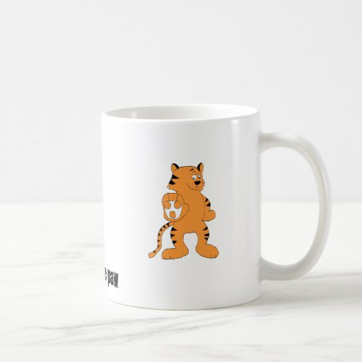 Tigre divertido del dibujo animado taza de café