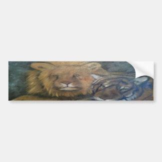 tigre e leone car bumper sticker