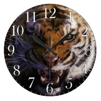Tigre el gruñir por arte de la fauna del gato gran reloj redondo grande
