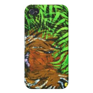 Tigre en el caso de bambú de Iphone iPhone 4/4S Fundas