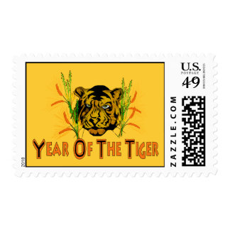 Tigre en la hierba sello