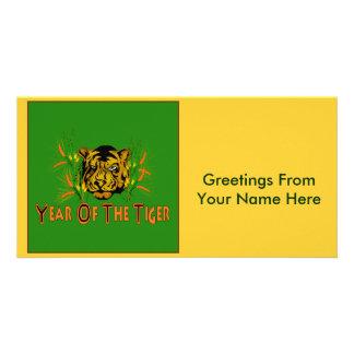Tigre en la hierba tarjeta personal con foto
