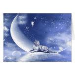 Tigre en la luna tarjeta de felicitación