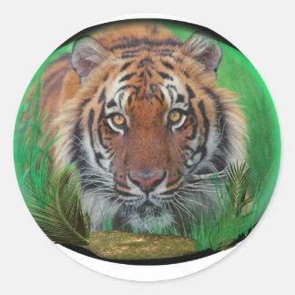 Tigre en la noche pegatina redonda
