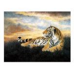 Tigre en la puesta del sol, arte chino clásico tarjeta postal
