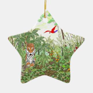 Tigre en la selva tropical adorno navideño de cerámica en forma de estrella