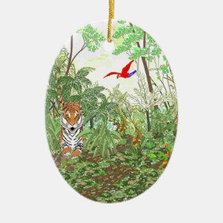 Tigre en la selva tropical adorno navideño ovalado de cerámica