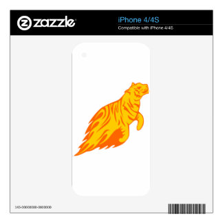 Tigre en llamas skin para el iPhone 4S