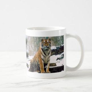 Tigre en nieve tazas