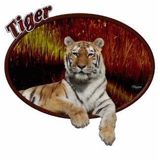 Tigre en óvalo adorno fotoescultura