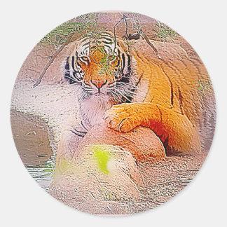 Tigre en rosas pegatina redonda