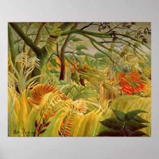 Tigre en una tormenta tropical 1891 poster