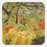 Tigre en una tormenta tropical 1891 pegatina cuadrada