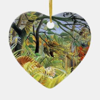 Tigre en una tormenta tropical adorno navideño de cerámica en forma de corazón