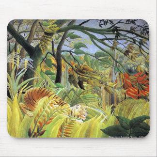 Tigre en una tormenta tropical alfombrilla de raton