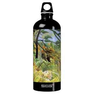 Tigre en una tormenta tropical botella de agua