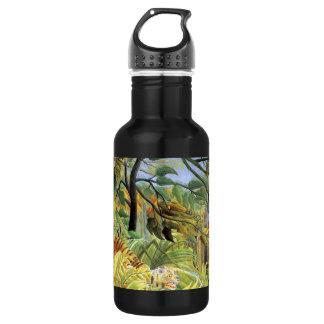 Tigre en una tormenta tropical botella de agua de acero inoxidable