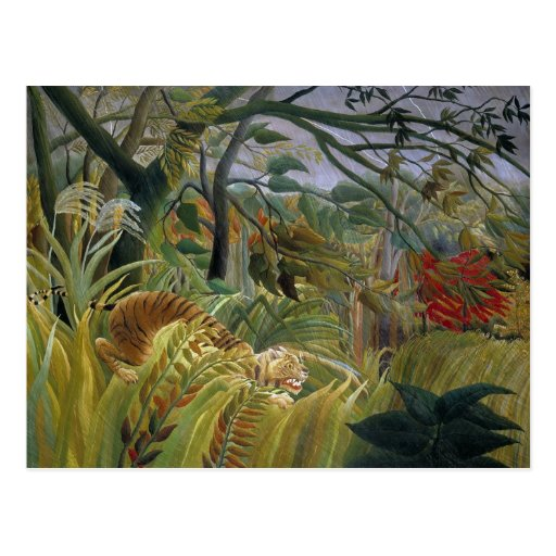 Tigre en una tormenta tropical de Henri Rousseau Postal