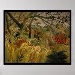Tigre en una tormenta tropical Henri Rousseau Poster