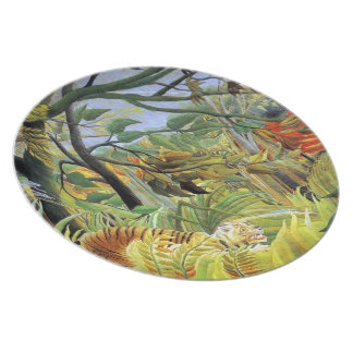 Tigre en una tormenta tropical platos de comidas