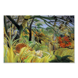 Tigre en una tormenta tropical póster