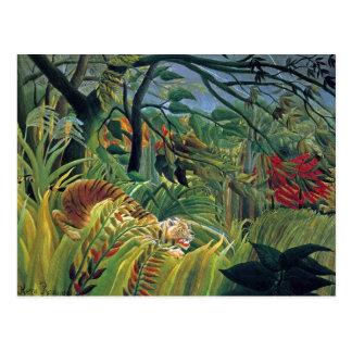 Tigre en una tormenta tropical (sorprendida) tarjetas postales