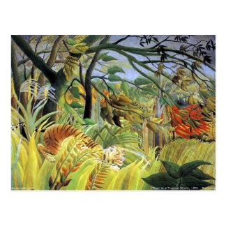 Tigre en una tormenta tropical tarjeta postal
