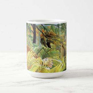 Tigre en una tormenta tropical taza de café