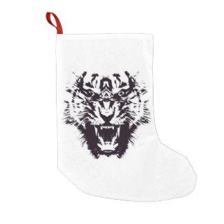 Tigre enojado dentado abstracto blanco y negro calcetín de navidad pequeño
