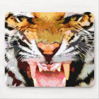 Tigre enojado - ojos del tigre tapetes de ratón