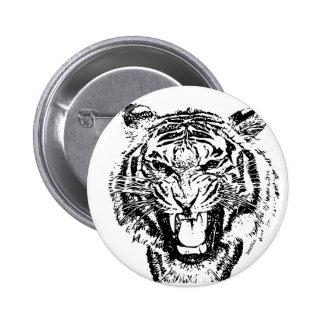 Tigre enojado pin redondo de 2 pulgadas