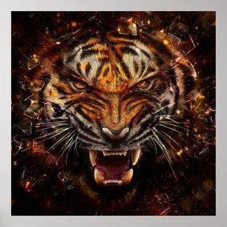 Tigre enojado que rompe Yelow de cristal Póster