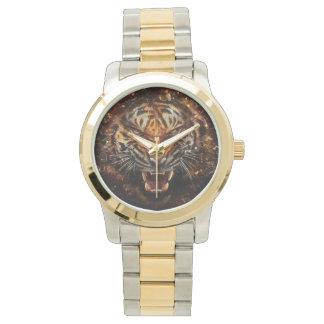 Tigre enojado que rompe Yelow de cristal Reloj De Mano