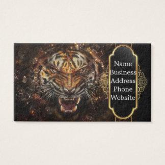 Tigre enojado que rompe Yelow de cristal Tarjetas De Visita